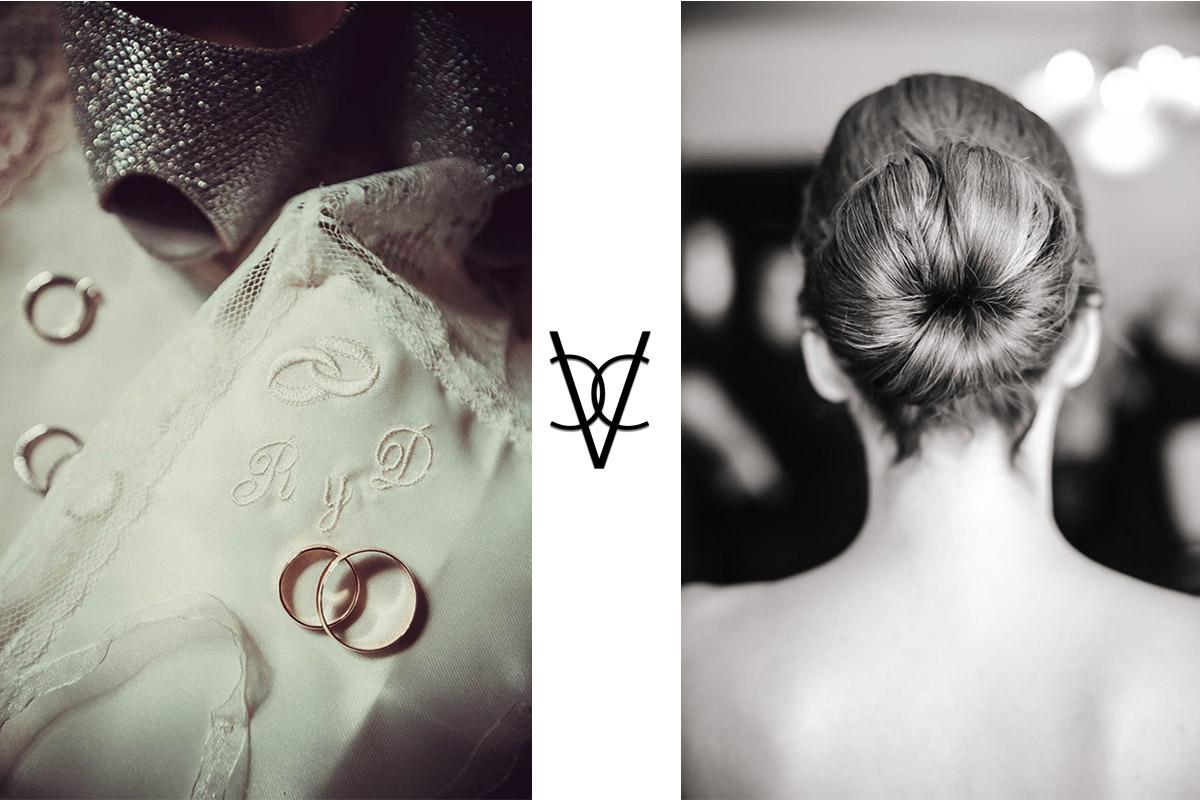 Fotos de anillos y peinado de la novia