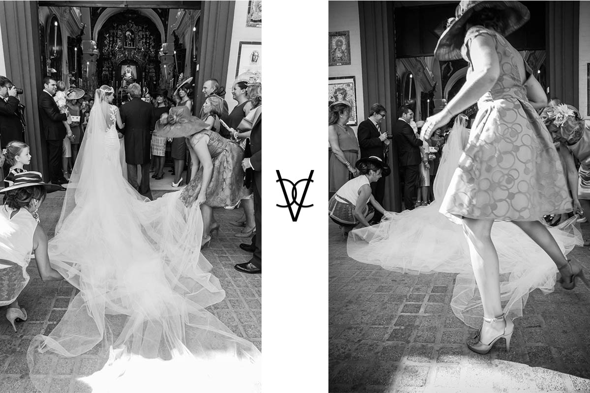 Foto de de velo de la novia entrando al Baratillo