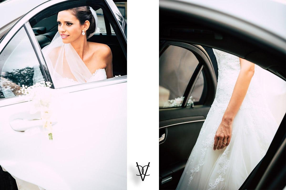 Setalles de la novia saliendo del coche