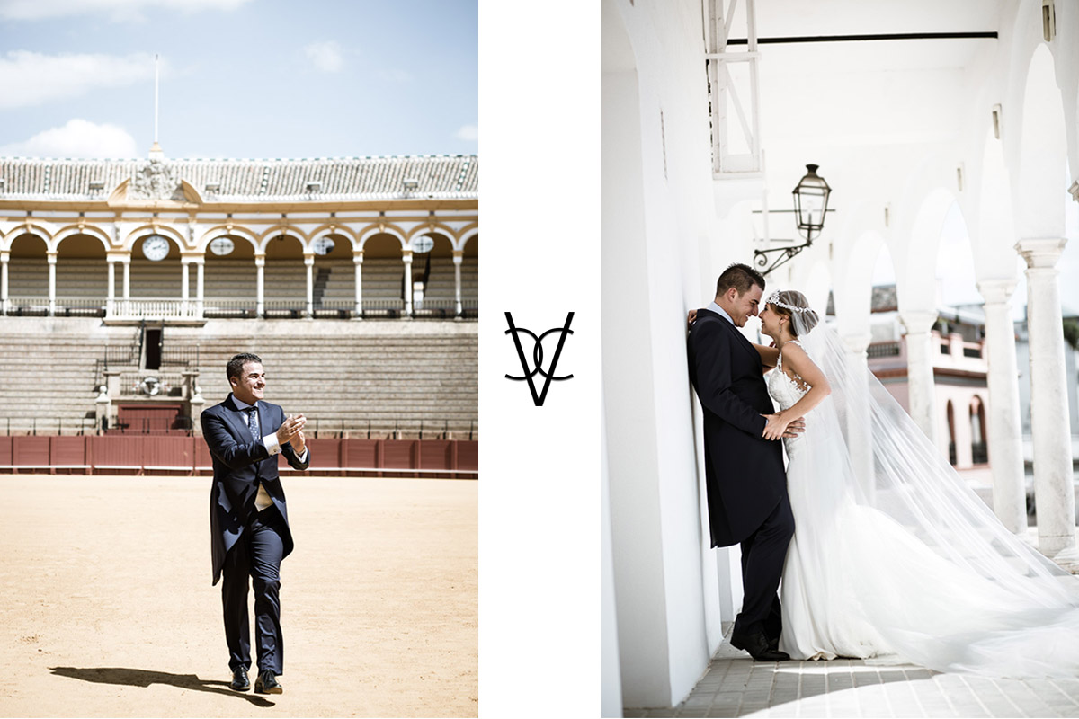 pareja boda en la Maestranza de Sevilla